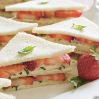 Strawberry, Basil And Cream Cheese Finger Sandwiches