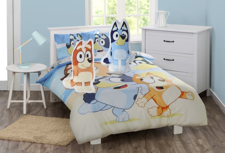 bluey bed linen and pillows