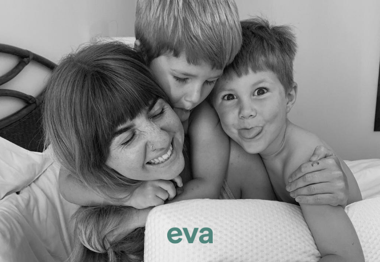 A mum and her two sons on an Eva Mattress