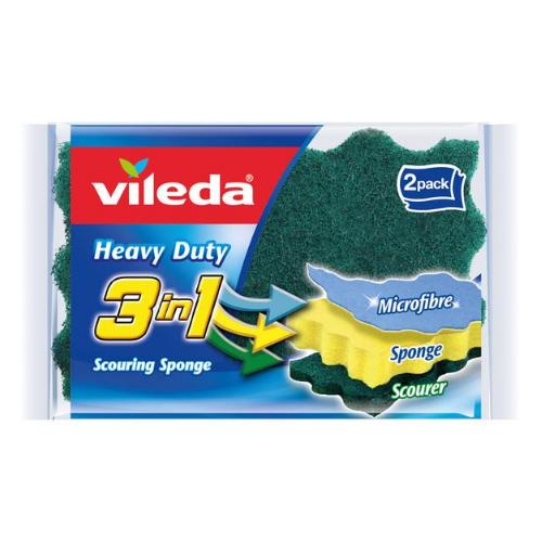 Image of Vileda 3in1 Heavy Duty Scourer 2pk