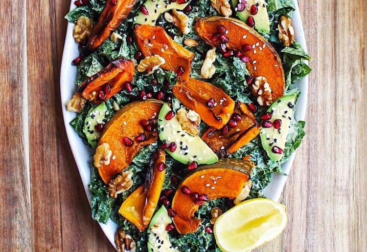 Kale and roasted pumpkin salad