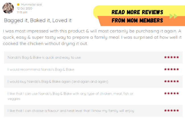 Member Review for Nando's Peri Peri Bag and Bake