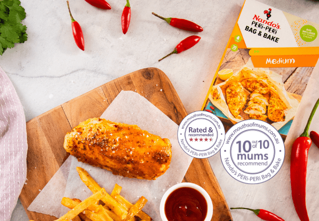 Chicken and Chips Chicken Dinner cooked in a Nandos peri peri bag and bake