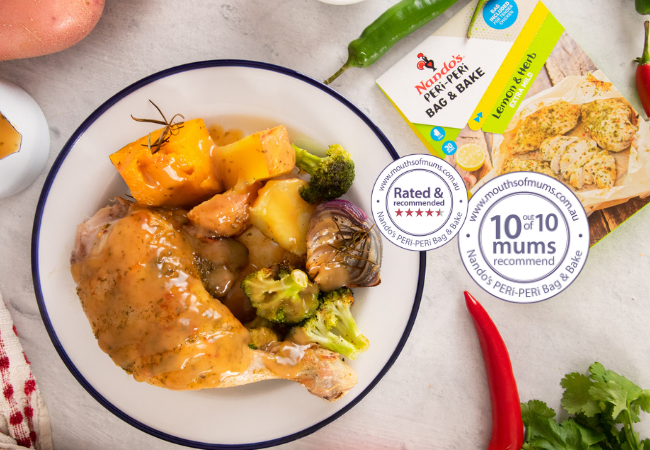Roast Chicken Dinner with vegetables all cooked in a Nando's Peri Peri Bag and Bake