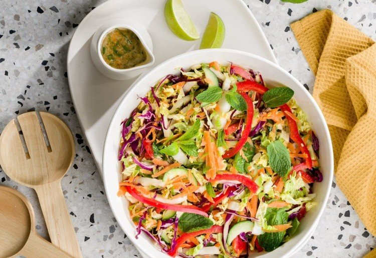 Crunchy Shredded Salad with Peanut Butter Dressing