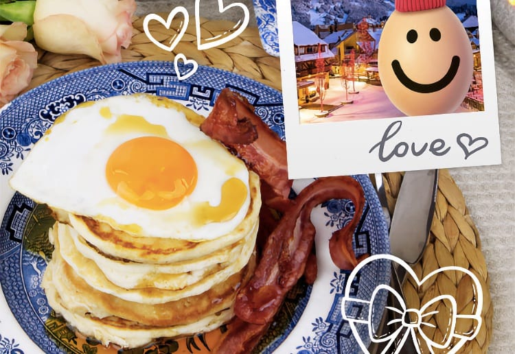 Buttermilk Pancake Stack With Eggs & Bacon