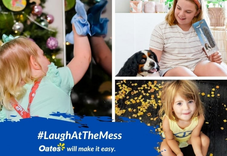 Kids using Oates products to laugh at the mess and clean up