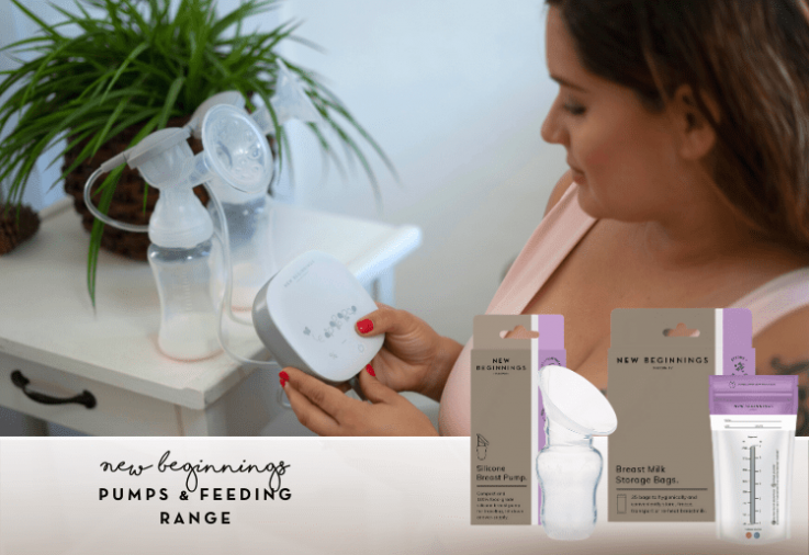 Image of mum with a breast pump for the New Beginnings Pumps and Feeding Review