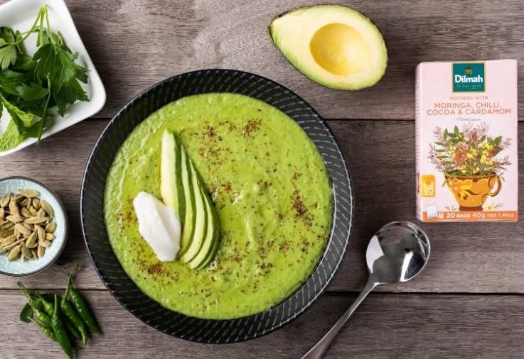 Dilmah Chilled Pea And Avocado Soup With Moringa, Chili, Cocoa and Cardamon