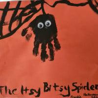 Halloween handprint itcy bitsy spiders