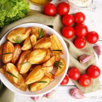 Easy Baked Potato Wedges with Feta and Tomato