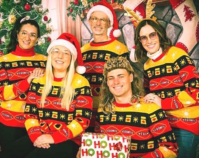 The Vegemite Team wearing Australian Ugly Christmas Sweaters featuring Vegemite