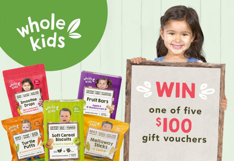 Win 1 of 5 $100 gift vouchers to spend on the Whole Kids range