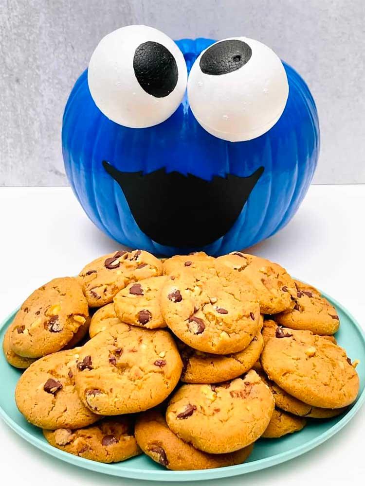 Cookie Monster Painted Pumpkin